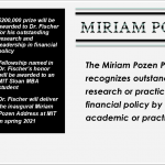 Stanley Fischer Announced Winner of First Miriam Pozen Prize