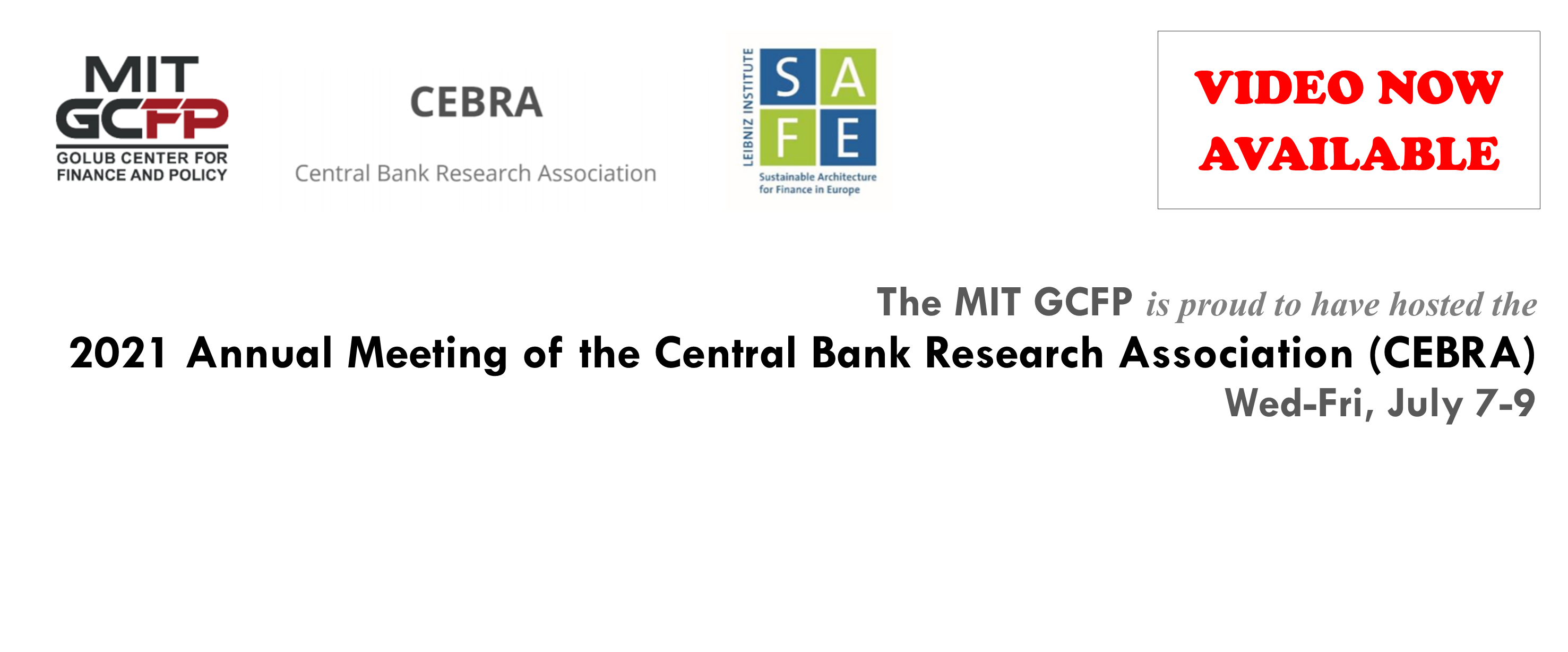 Select videos are now available from the CEBRA 2021 Annual Meeting (July 7-9)