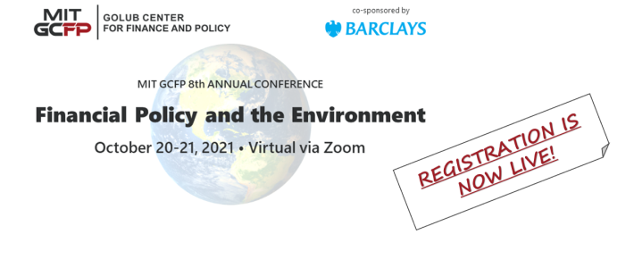 REGISTER NOW for our 8th Annual Conference: Financial Policy and the Environment – Oct 20-21